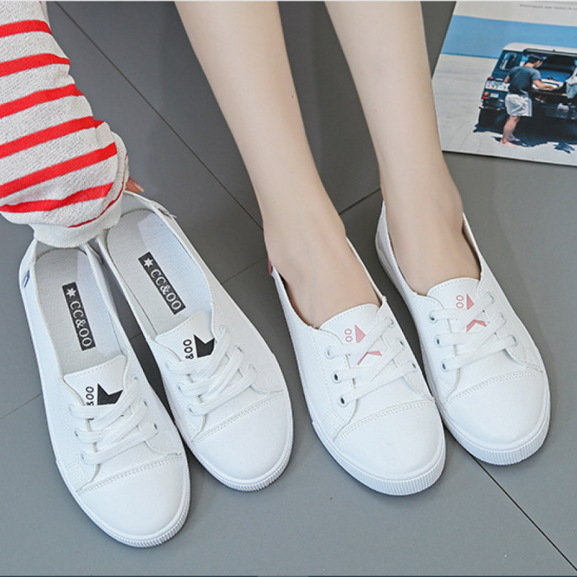Giày lười nữ kiểu dáng thể thao buộc dây cá tính sao hồng - slip on nữ - Giày thể thao nữ G9735 giá rẻ