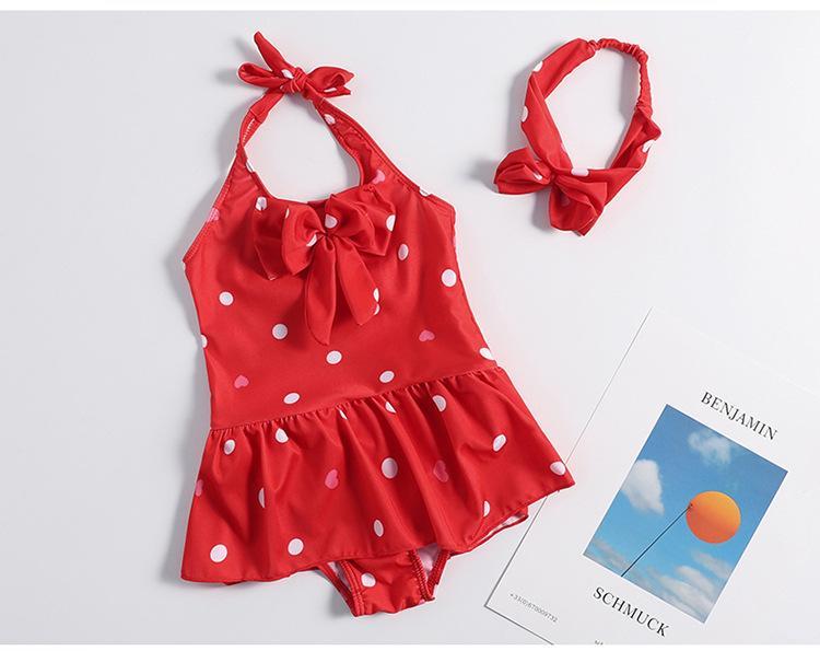 Giá bán váy bơi liền thân bé gái chấm bi + kèm nơ cài đầu