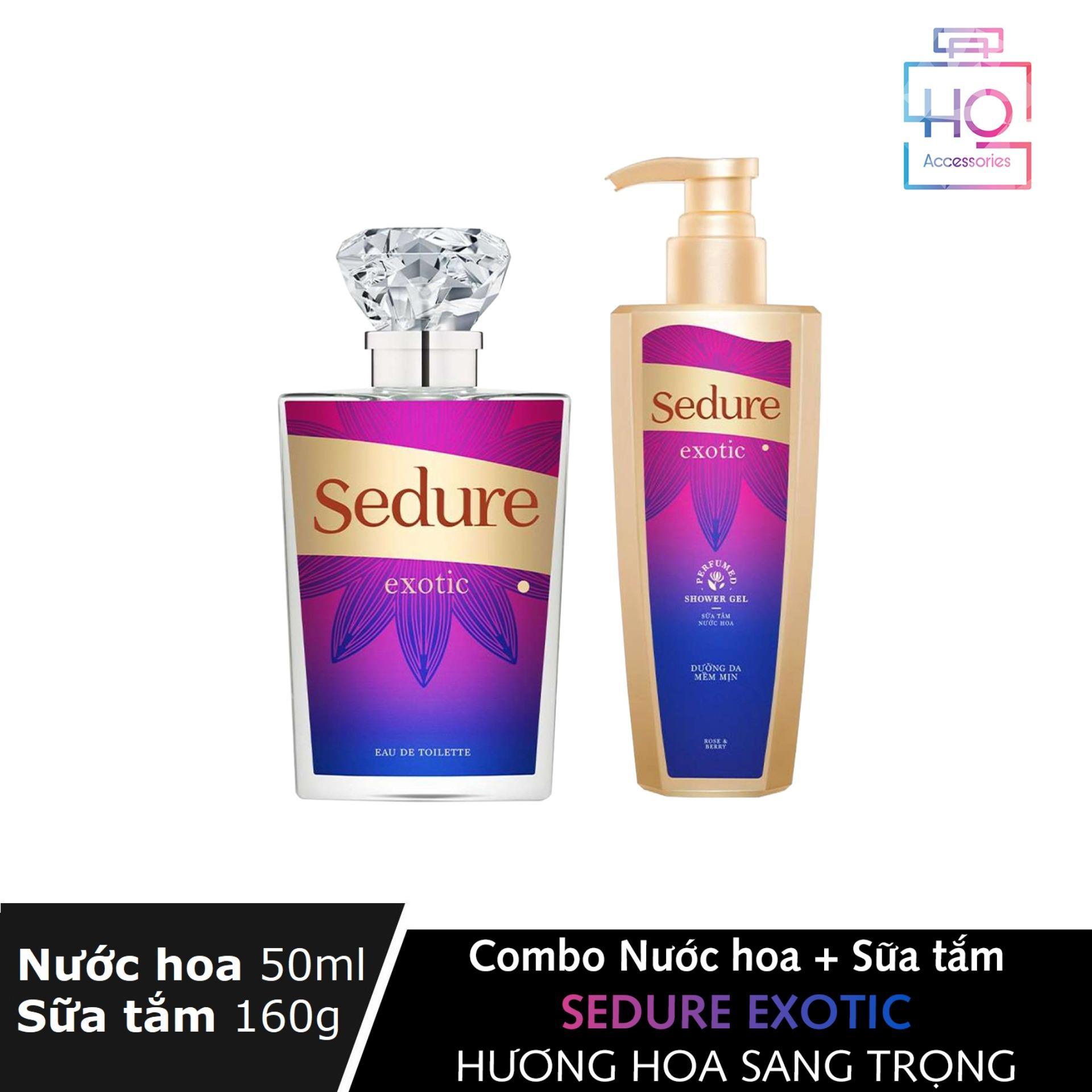 Combo 2 món tiện lợi Nước hoa 50ml + Sữa tắm Nước hoa 160g Sedure Exotic hương hoa sang trọng