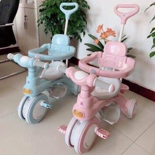Xe đẩy 3 bánh có cần đẩy, có nhạc kiêm chòi chân, xe đạp cho bé thumbnail