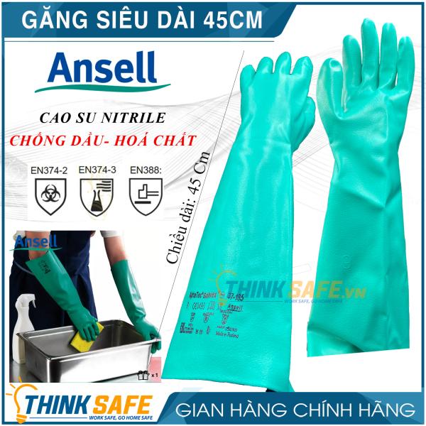 Găng chống hóa chất Ansell 37-185 găng tay cao su nitrile - chống hóa chất - axit - dầu nhớt siêu dài 45,5cm (Màu xanh) - Bảo hộ Thinksafe