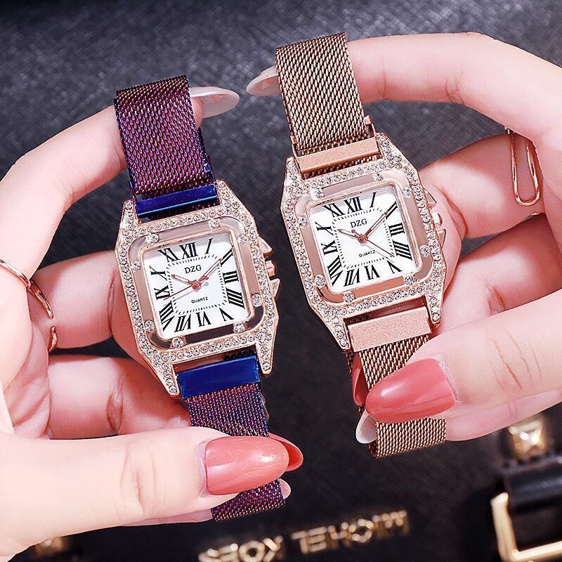 Nơi bán SIÊU GIẢM GIÁ][TẶNG HỘP VÀ PIN 3 NĂM TRỊ GIÁ 30K] Đồng hồ nữ DZG thời trang cao cấp dây nam châm vuông kim loại chống nước  - BẢO HÀNH 12 THÁNG