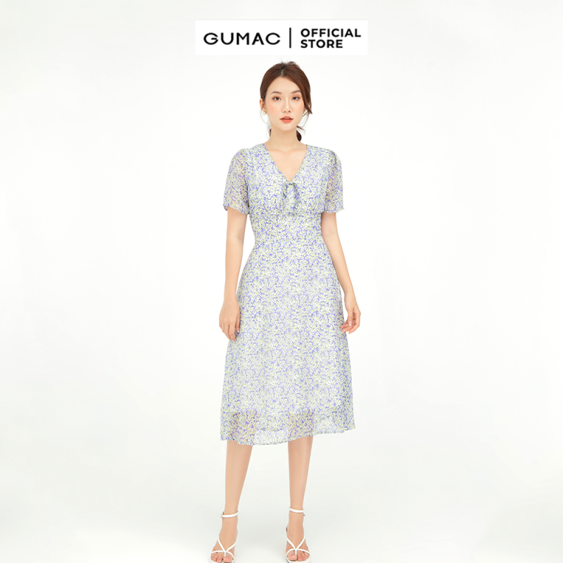 Nơi bán Đầm nữ cổ V nơ tím GUMAC mẫu mới DB595 Chất Liệu Voan form A xòe style dịu dàng
