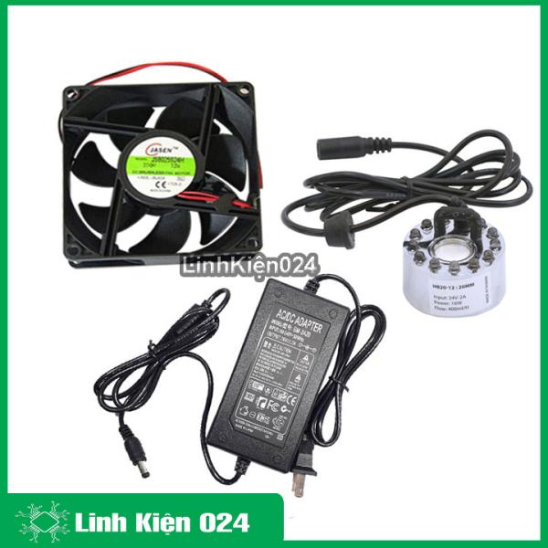 Bảng giá Combo động cơ phun sương hb20 zin 16w có đèn và nguồn 24v 2a Tặng quạt tản nhiệt 8x8x2,5cm 24v