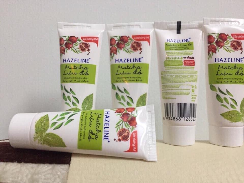 (HSD 8/2019) Set 10 tuýp sưa dưỡng thể Hazeline Matcha lựu đỏ 15g