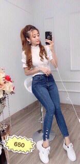 Quần Jean Nữ Lưng Cao Co Giãn Chất Liệu Đẹp PHƯƠNG VI FASHION PV650 ( SET QUẦN JEAN + ÁO THUN ĐẶT RIÊNG ) thumbnail