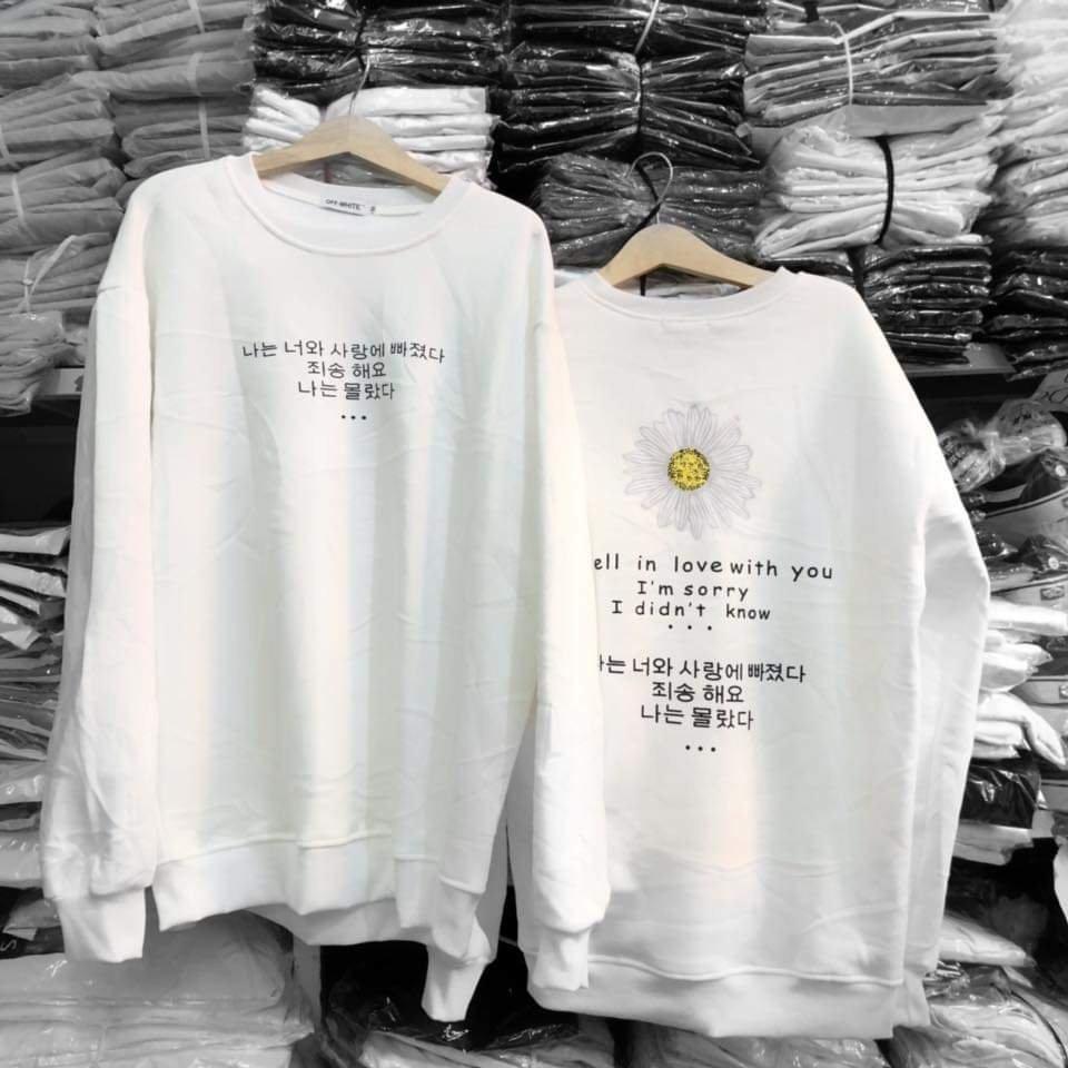 Áo thun nỉ nam nữ tay dài kiểu dáng Hàn Quốc phom rộng họa tiết hoa phối chữ Nhật siêu Hot Shop Vanle MS64F
