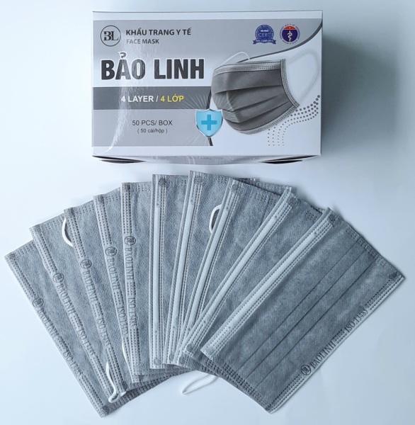 [4 lớp màu xám] Hộp Khẩu trang y tế BẢO LINH 4 lớp than hoạt tính kháng khuẩn ngừa dịch chống thấm nước lọc bụi (50 cái hộp) tốt nhất