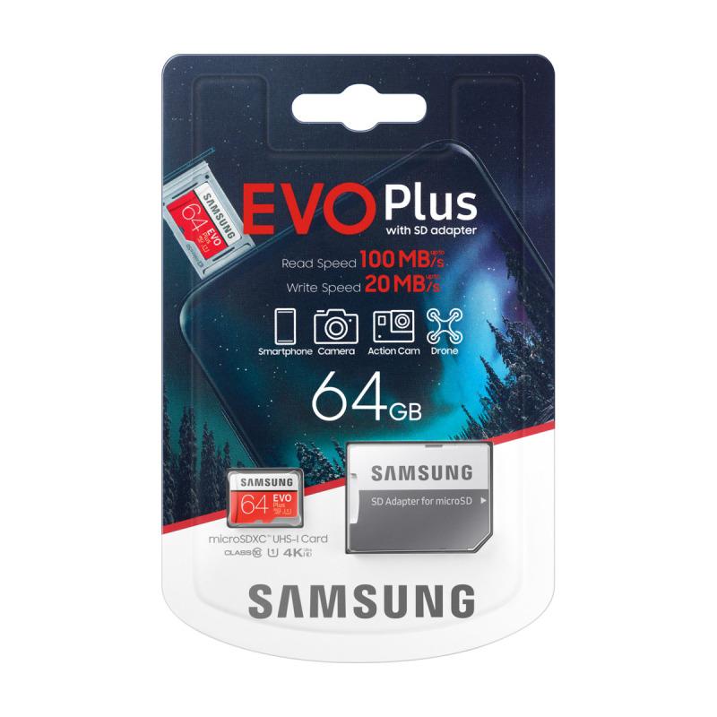 Thẻ nhớ MicroSDXC Samsung Evo Plus 64GB U1 2K R100MB/s W20MB/s - box Anh New 2020 (Đỏ) Kèm Adapter - Phụ Kiện 1986