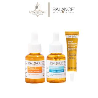 Combo Balance Active Formula dưỡng da toàn diện Serum Vitamin C 30ml + serum cấp ẩm Hyaluronic 30ml + Serum mắt dưỡng sáng giảm nếp nhăn Gold Collagen 15ml thumbnail