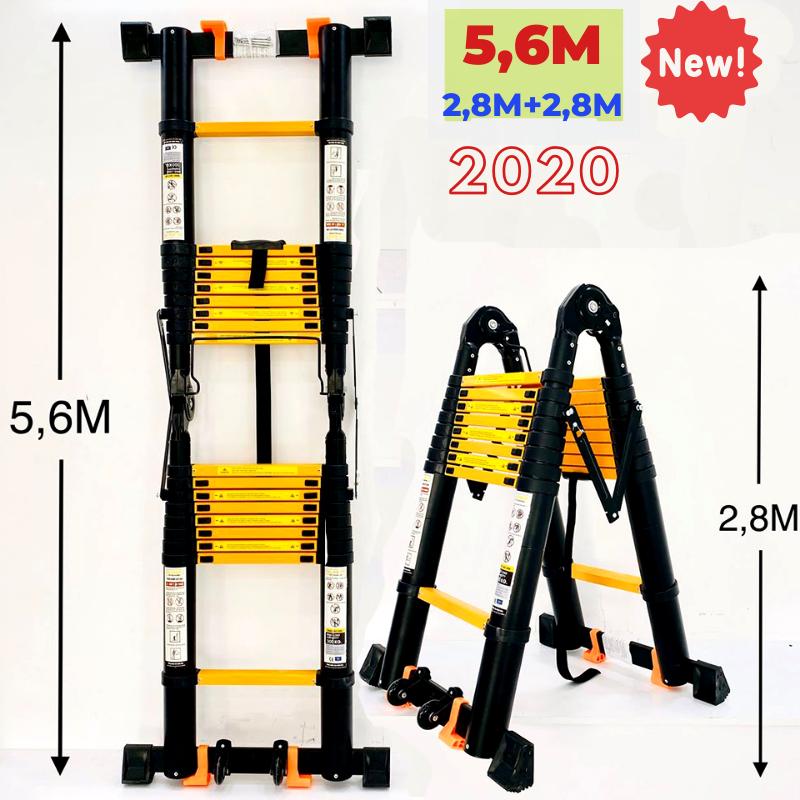 Thang nhôm rút đôi (Chữ A: 2,8m Chữ I: 5,6m) Sumika SK560D NEW - Nút cao su chống trượt, khóa chống rung lắc, 2x9 bậc, tải trọng 300kg, bảo hành 2 năm