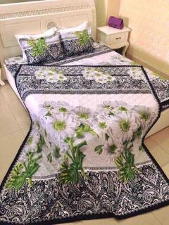 Bộ chăn ra 5 món Cotton cao cấp hoa đá 3d, chăn trần bông mềm mịn thumbnail
