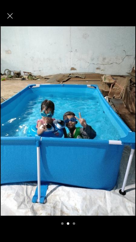 Bể khung kim loại KT 2,21x1,5x0.43 + Tặng phao bơi và miếng vá chuyên dụng. BẢO HÀNH 12 THÁNG