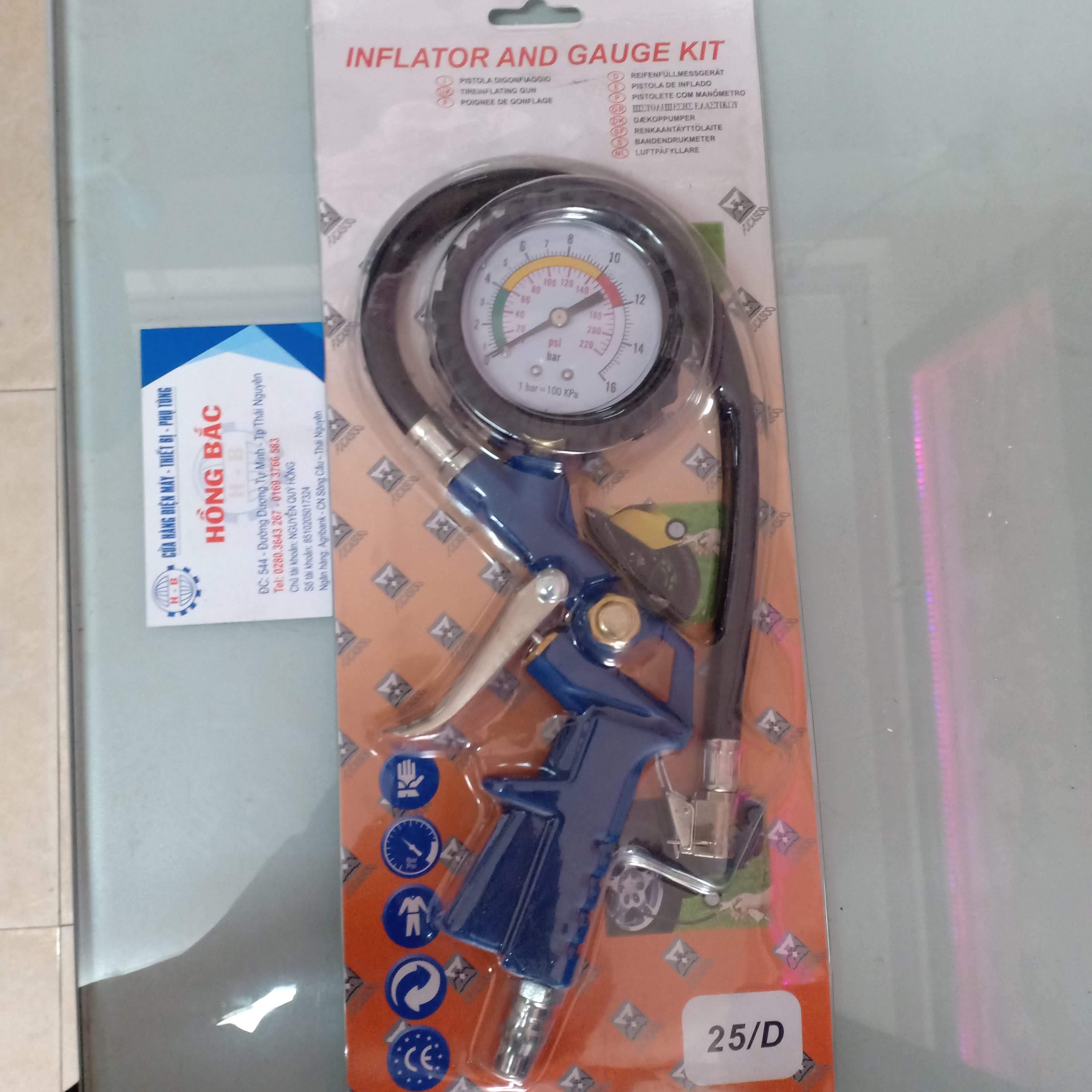 S.úng Bơm Lốp ô tô xe máy có đồng hồ đo áp suất