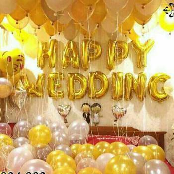Set Bóng  Trang Trí Phòng Cưới,Phòng Tân Hôn Happy Wedding Tông Vàng ( Tặng Bơm Bóng, Băng Dính, Dây Ruy Băng) Đang Giảm Giá