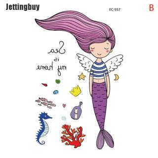 Jettingbuy Hình Xăm Tạm Thời Hoạt Hình Cho Trẻ Em Hình Dán Nàng Tiên Cá Tatoo Giả Không Thấm Nước thumbnail