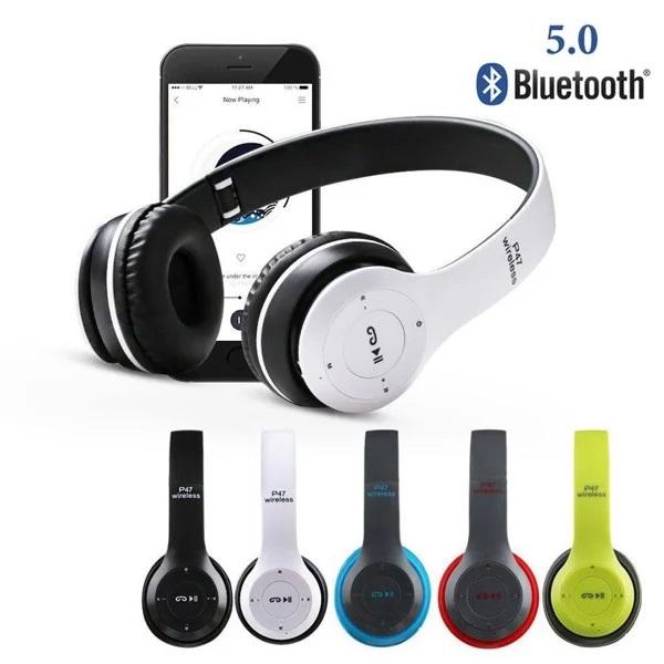 Tai nghe chụp tai cao cấp bluetooth P47 có khe thẻ nhớ, có cap kết nối 2 đầu 3.5mm âm thanh chất lượng có mic over ear headphones - Không đau tai - Thời gian nghe hơn 8 tiếng - HÀNG NHẬP KHẨU