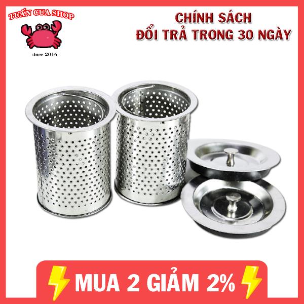 Bảng giá Bộ giỏ lọc và nắp chặn rác bồn rửa bát bằng inox cao cấp, giỏ lọc rác bồn rửa chén (GVN02), tuancua
