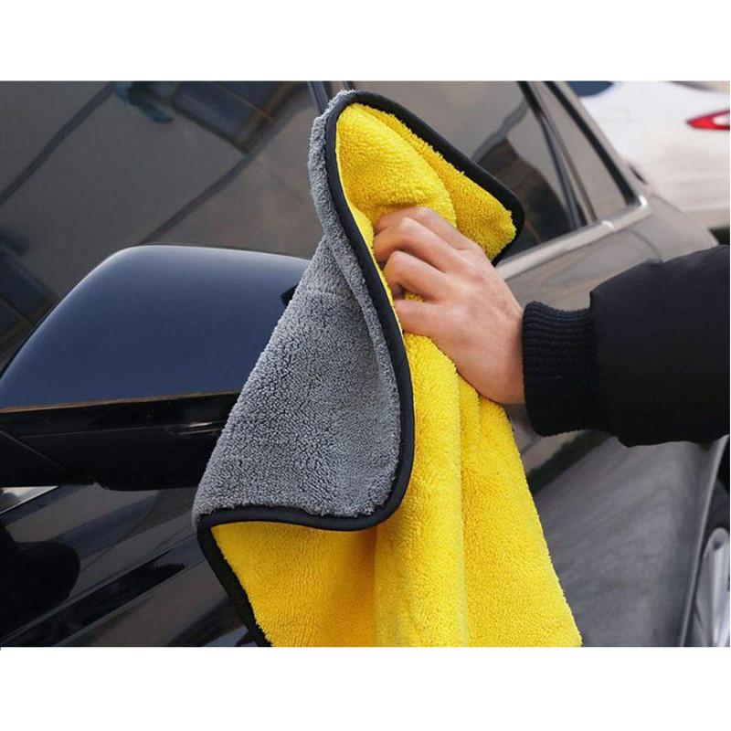 Khăn lau vàng xám microfiber 30x30cm cho ôtô, xe hơi, xe máy B609 - Vàng xám