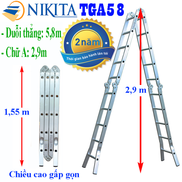Thang nhôm gấp 4 đoạn Nikita Nhật Bản - Chữ A 2,9m duỗi thẳng 5,8m NIKITA TGA58, NIKITA GA58