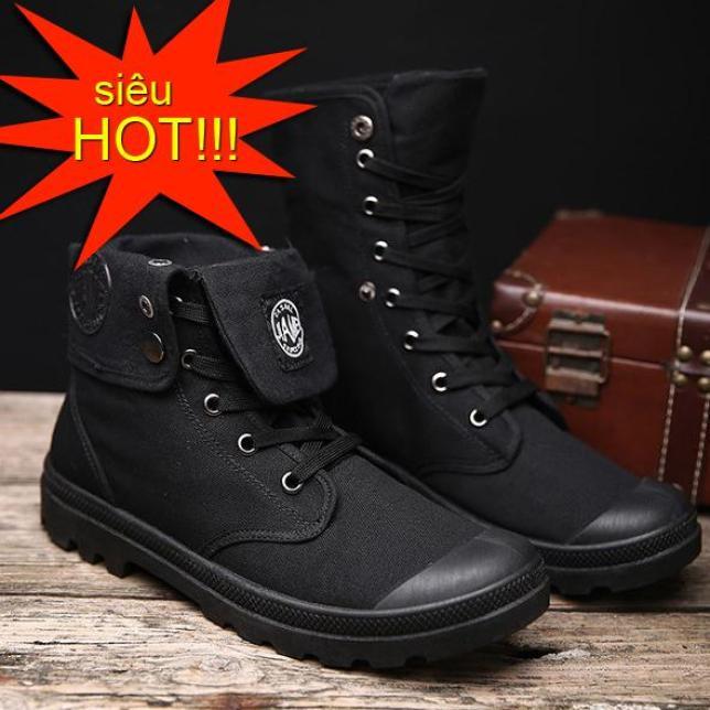 Giày nam cao cổ đa năng vải bố dày dặn cổ bẻ xuống hoặc dựng lên thành bốt giaynam - G16 đen giá rẻ