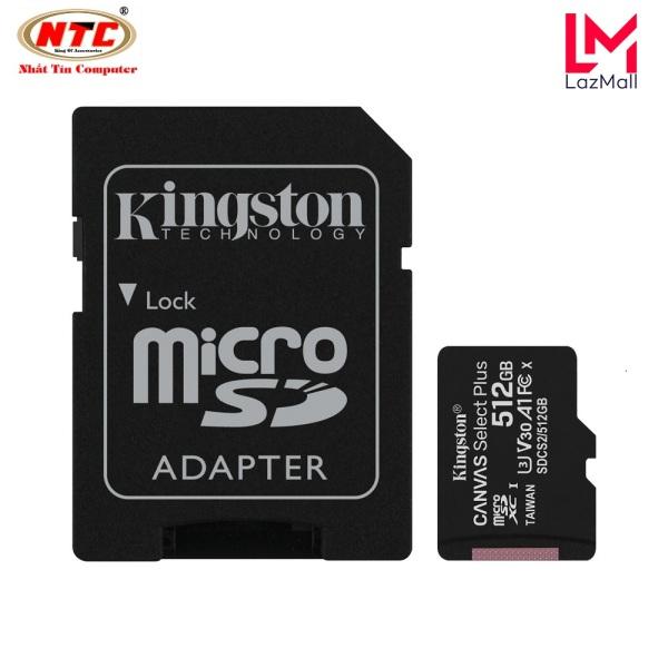 Thẻ nhớ microSDXC Kingston Canvas Select Plus 512GB U3 V30 A1 R100MB/s W85MB/s - Kèm Adapter (Đen)