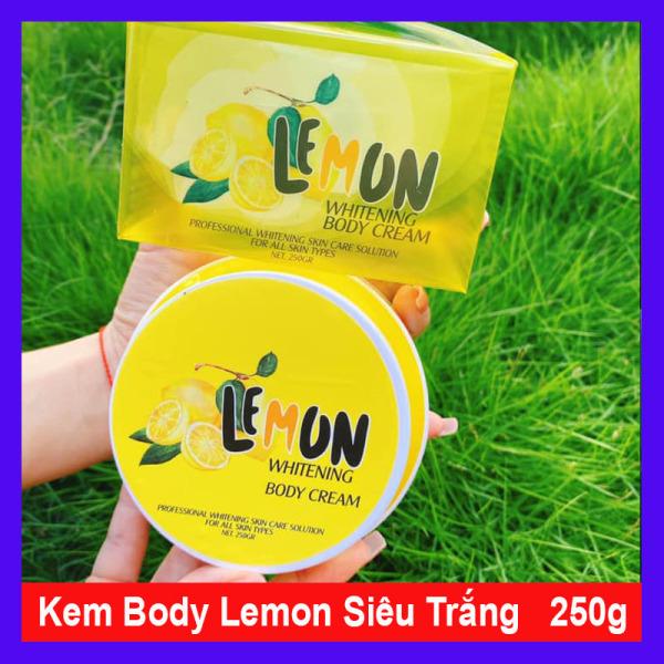 Kem body lemon chanh trắng cấp tốc sau 7 ngày loại bỏ tế bào chết thơm dịu nhẹ hương chanh Chống nắng an toàn làm sáng vùng da thâm sạm không bết rít lộ vân kem (250gram) nhập khẩu