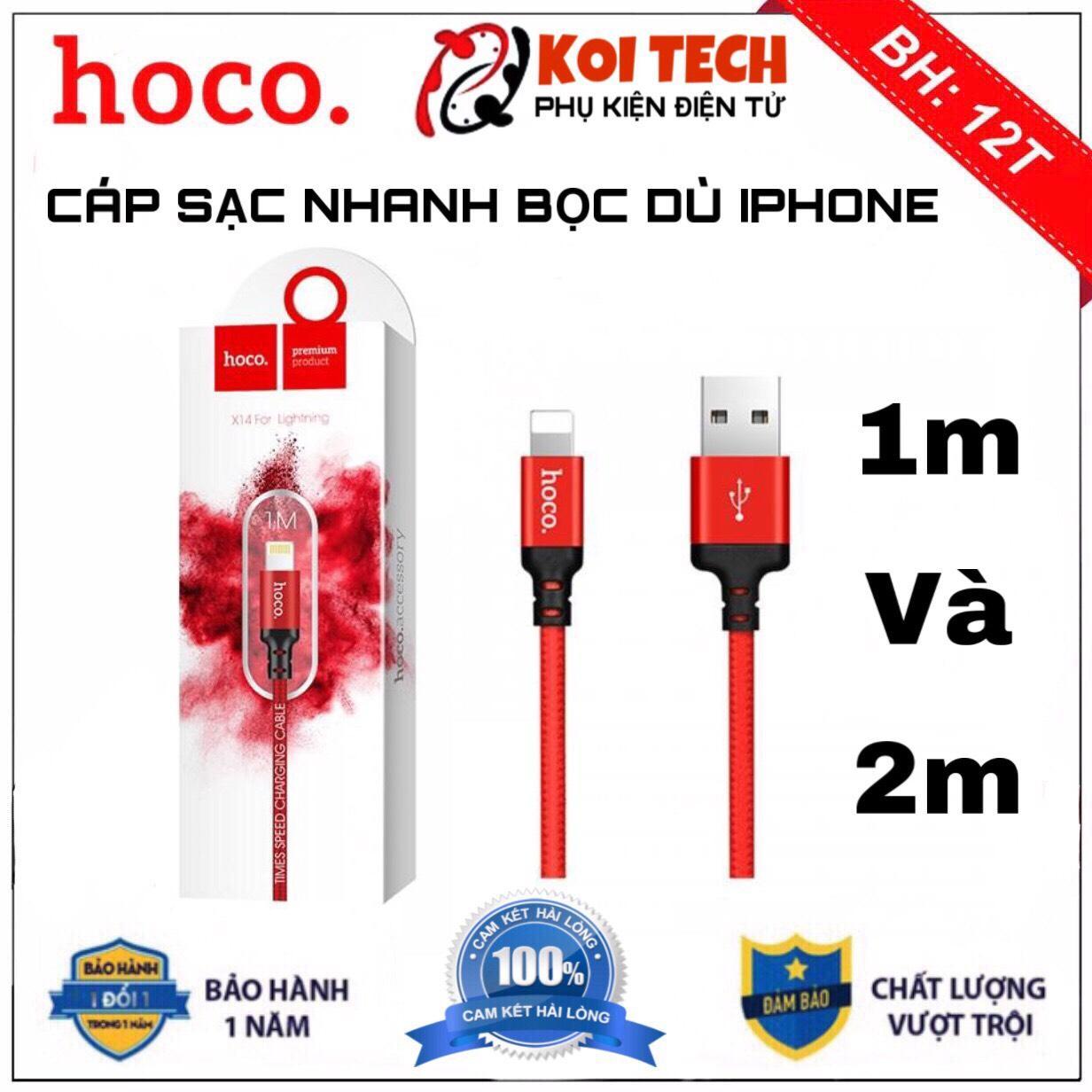 Giá CÁP SẠC DÂY SẠC NHANH DÂY DÙ HOCO X14 1M và 2M - Lightning cho iPhone iPad