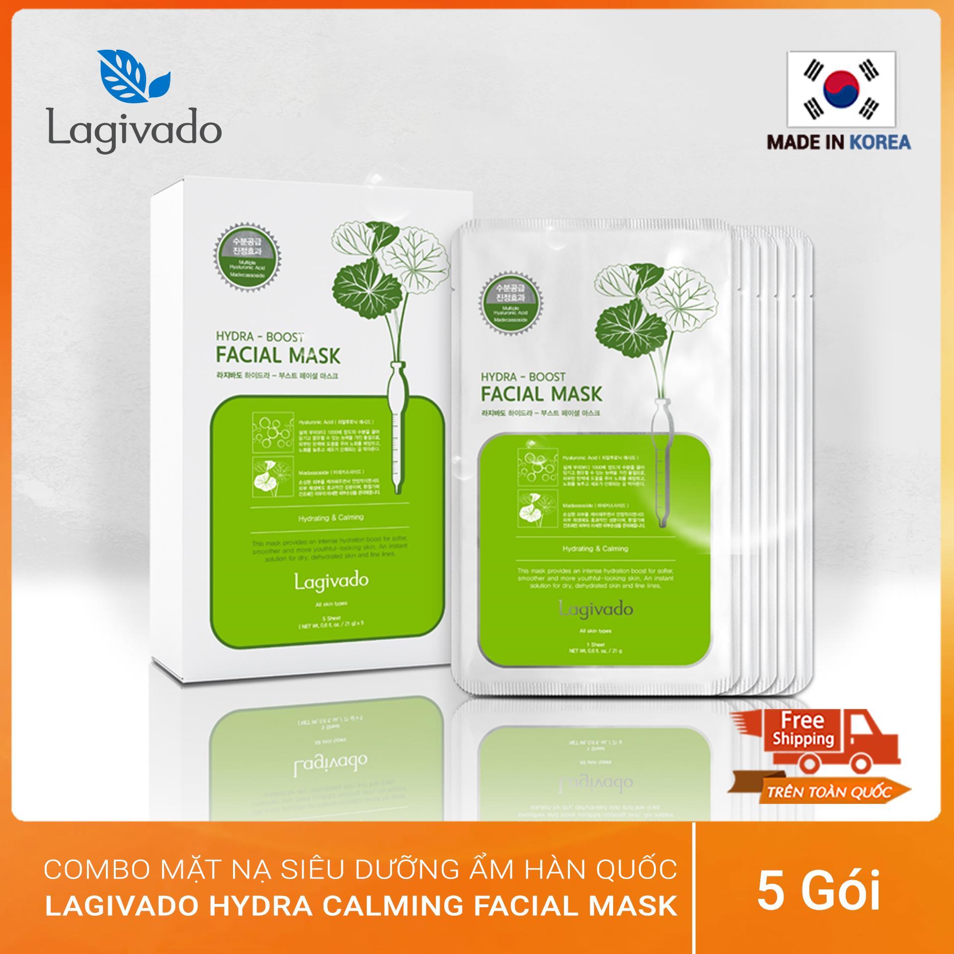 Combo 05 mặt nạ dưỡng da siêu dưỡng ẩm, làm dịu da cho làn da căng bóng và mềm mịn Hàn Quốc Lagivado Hydra Calming Facial Mask
