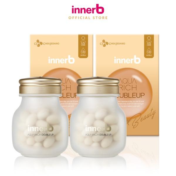 Bộ đôi thực phẩm bảo vệ sức khỏe INNERB AQUA RICH DOUBLEUP (giúp giữ ẩm da sáng mịn từ Axit Hyaluronic) lọ 56 viên