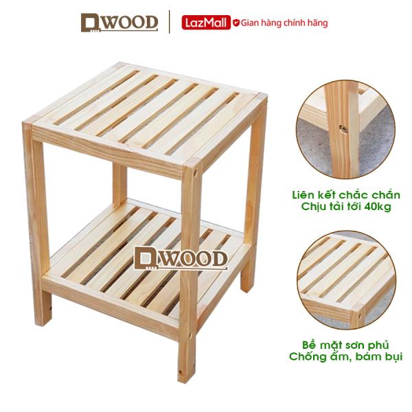 Kệ đầu giường Dwood- kệ tab đầu giường đựng đồ 2 tầng gỗ thông