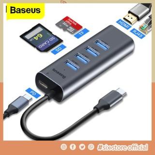 [THIẾT BỊ THÔNG MINH] HUB Chuyển Type C Ra USB 3.0 Và HDMI Baseus Enjoy Series Chính Hãng Hub chuyển Type C to USB 3.0 và HDMI Baseus Enjoy Series (Type C to USB 3.0 x4 Ports + HDMI 4K, 5 in 1 intelligent HUB Adapter ) Bảo Hành 12 Tháng. thumbnail