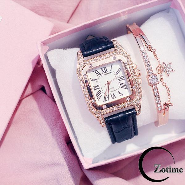 Nơi bán Đồng hồ thời trang nam nữ mặt vuông đính đá cực đẹp ZO46