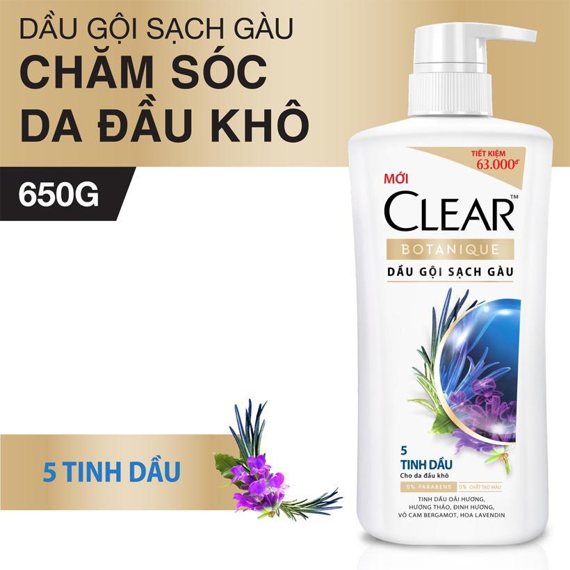 Dầu Gội Sạch Gàu Clear Botanique  - 5 Tinh Dầu (650g)