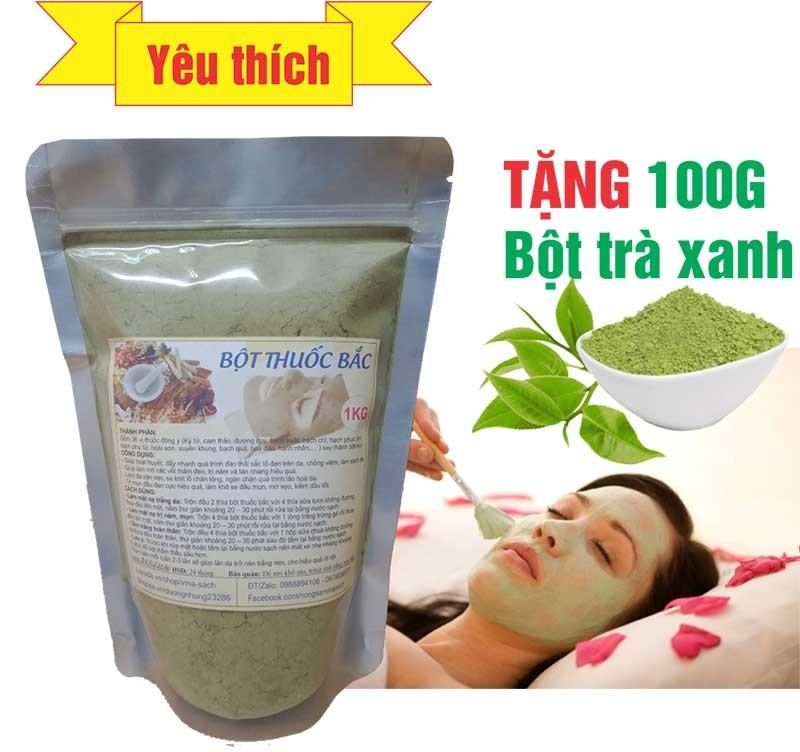 Mặt nạ Bột Thuốc Bắc (Trị nám mụn, trắng da) - 500G (Tặng 100G Bột trà xanh) giá rẻ