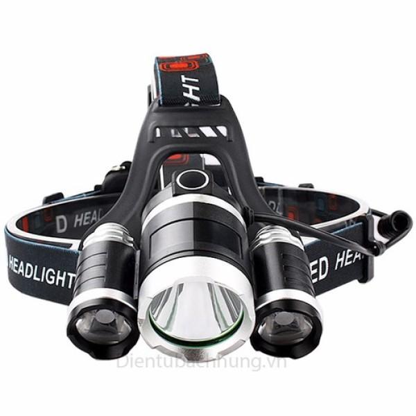 Bảng giá Đèn pin đội đầu 3 bóng LED siêu sáng chiếu xa trăm mét - Đèn pin cao cấp T6 có 4 chế độ, dùng 2 pin sạc 18650 + 1 bộ sạc + 1 dây đai + 1 hộp đựng