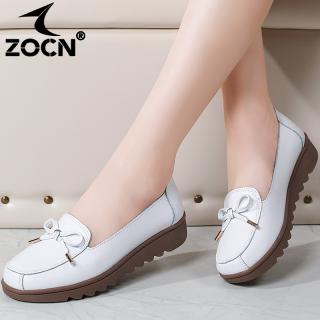 Giày Nữ ZOCN, Giày Đế Bằng Cho Nữ Giày Da Màu Đen Phong Cách Hàn Quốc, Giày Y Tá Màu Trắng Thoải Mái Giày Lười Đi Chơi Chống Trượt