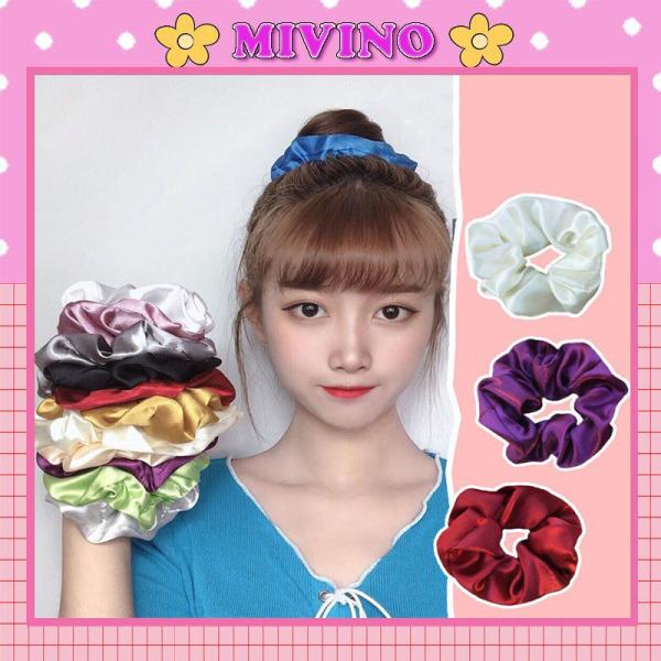 Chun buộc tóc, dây buộc tóc scrunchies nhiều màu phi bóng SC17