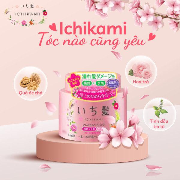 Kem ủ tóc và da dầu dưỡng phục hồi cho tóc hư tồn Ichikami hũ 180g date T4/2022 mới