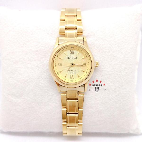 Nơi bán Đồng hồ nữ HALEI dây kim loại thời thượng ( HL489 dây vàng mặt vàng ) - TẶNG 1 vòng tỳ hưu phong thuỷ