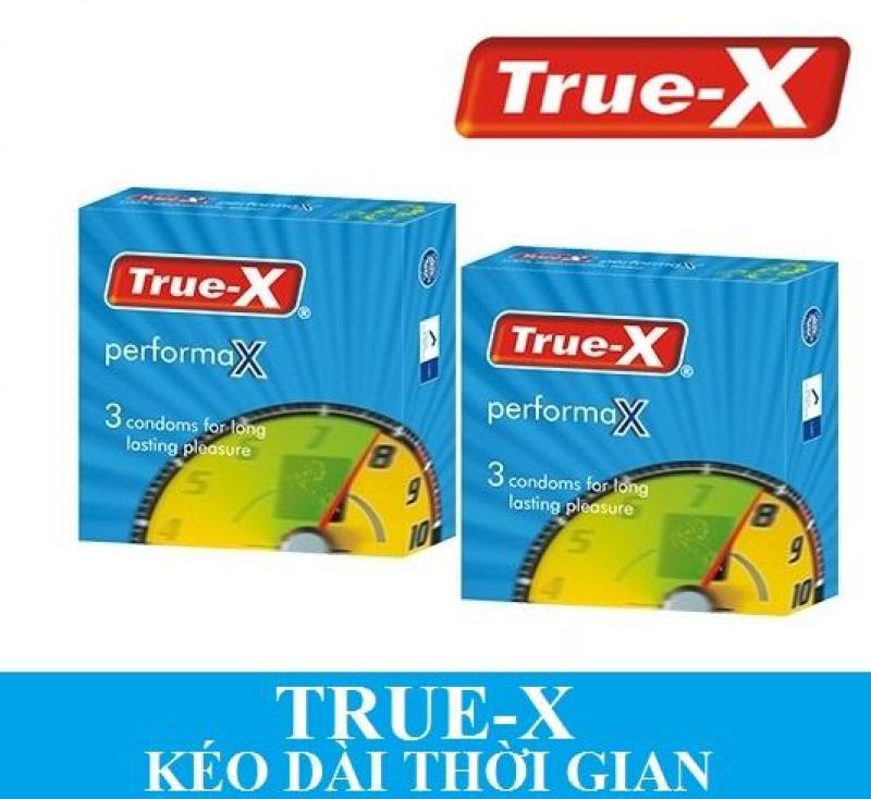Bộ 2 hộp Bao cao su True-X PerformaX- Extra time kéo dài thời gian ( 6 chiếc) cao cấp