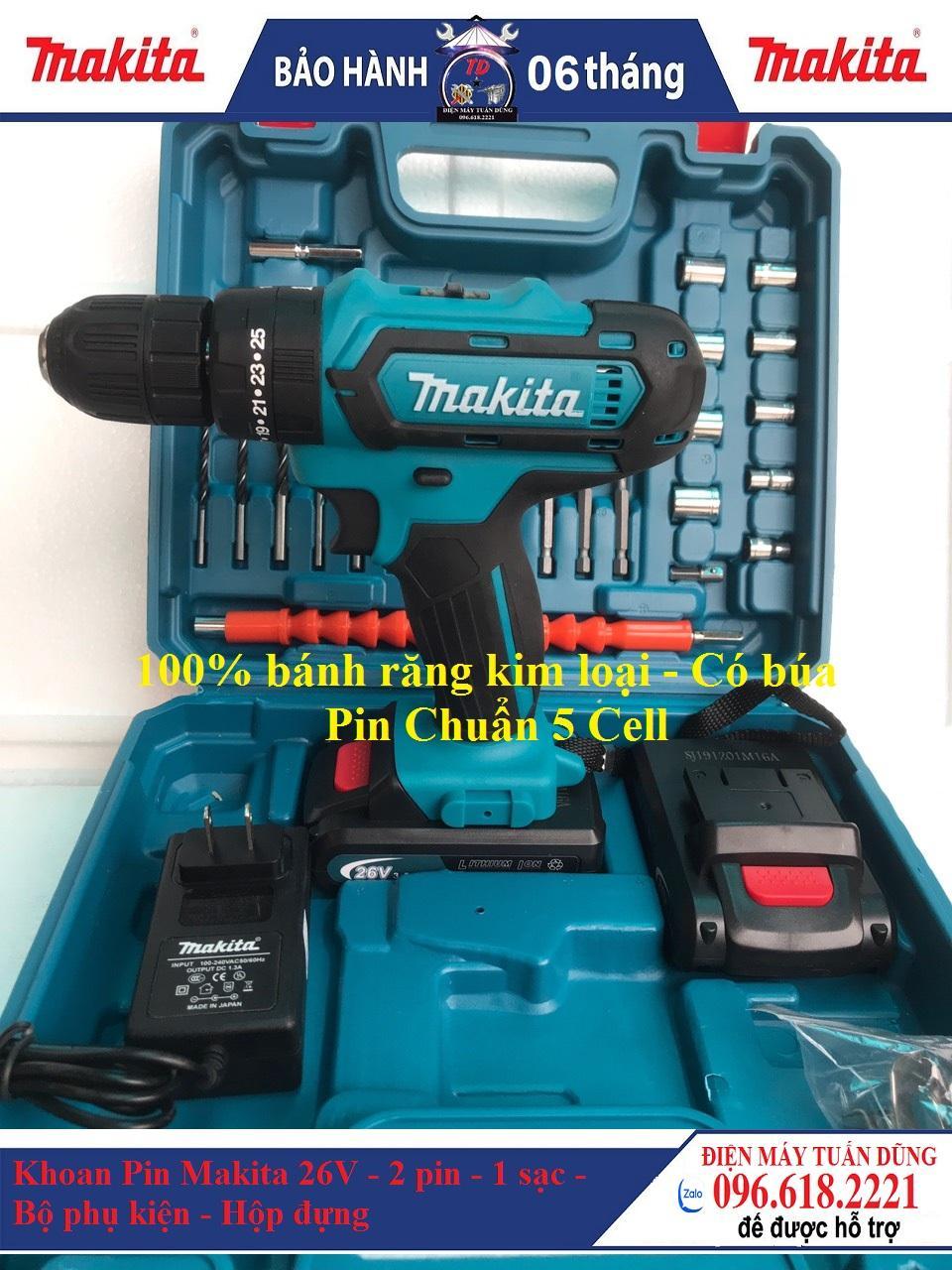 Bộ máy khoan pin Makita 26V kèm phụ kiện - Có búa - 100% bánh răng kim loại , lõi đồng - Pin chuẩn 5 Cell