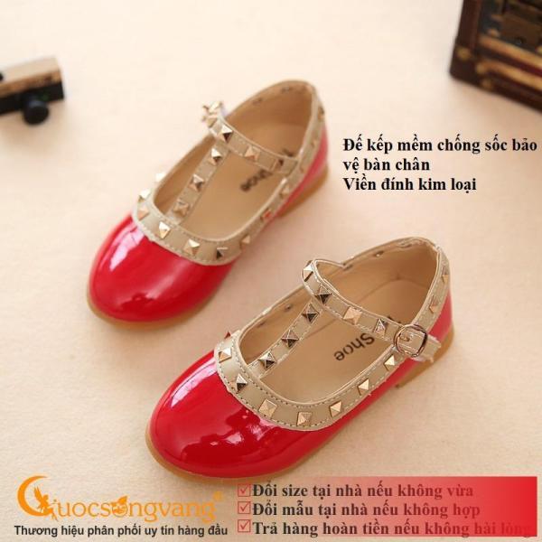 Giá bán Giày bé gái quai cài đẹp giày học sinh đính kim loại màu đỏ GLG075