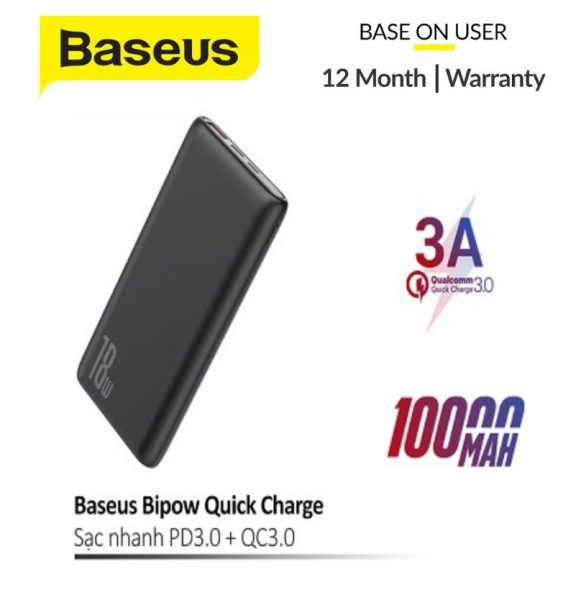 Giá Pin dự phòng sạc nhanh Baseus Bipow 10000mAh tích hợp PD/QC công suất lên đến 18W 3 cổng sạc QC3.0+PD3.0 sạc nhanh 2 chiều