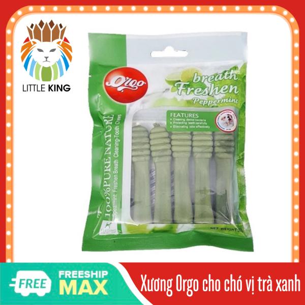 Xương Orgo cho chó 90gr hương vị bạc hà giúp sạch răng, thơm miệng và bổ xung canxi Little King pet shop