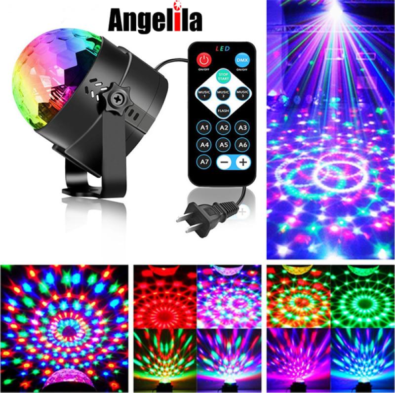 Angelila Âm thanh Angelila Kích hoạt Xoay Vũ trường Bóng đèn nhấp nháy nhiều màu Đèn sân khấu LED 3W với Bộ điều khiển từ xa cho Nhà KTV Lễ cưới sinh nhật