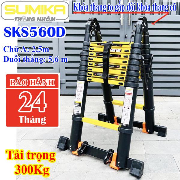 Thang nhôm rút Chữ A 2,8m duỗi thẳng 5,6msơn tĩnh điện Sumika SKS560D