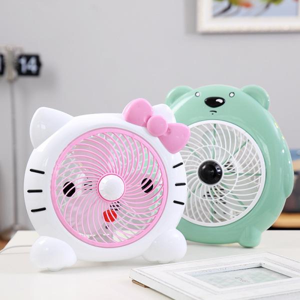 Quạt điện loại nhỏ để bàn có dây hình mèo Hello Kitty
