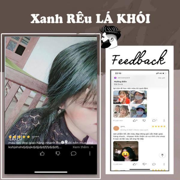 Thuốc nhuộm tóc màu Xanh rêu lá khói tại nhà, hàng nội địa Việt Nam, không gây hư tổn cho tóc (Trọn bộ tặng gang tay, trợ nhuộm)