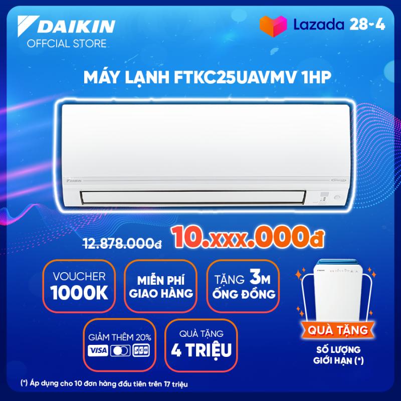 Bảng giá Máy Lạnh Daikin Inverter FTKC25UAVMV - 1HP (9000BTU) Tiết kiệm điện vượt trội - Luồng gió Coanda - Tinh lọc không khí - Khử ẩm 25% - Độ bền cao - Chống ẩm mốc - Chống ăn mòn - Làm lạnh nhanh - Hàng chính hãng